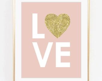 Love print, Nursery art, Kids room decor, Baby girl room art, Gold glitter print, Pink, Printable art, Digital poster Instant Download 8x10