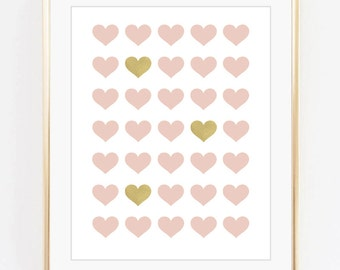 Pink gold hearts, Nursery art, Kids room decor, Girls room art, Gold foil print, Pink, Printable art, Digital print Instant Download 8x10