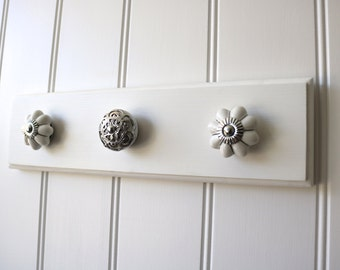 Jewellery organiser, 3 knob All White necklace hanger/holder/wall rack made with sustainable timber & ceramic knobs