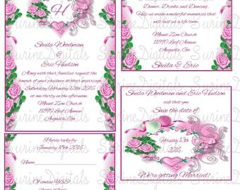 Pink Heart Floral Frame Wedding Invitation Set, Wedding Invitation set w/ Reply, Reception and Save the Date, Wedding Invitations