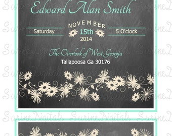 Wedding Invitation and reply card, Chalk Board wedding invitation, Floral wedding Invitation set