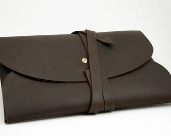 Handmade Leather Wrap Clutch | Dark Brown Stone Oil Leather