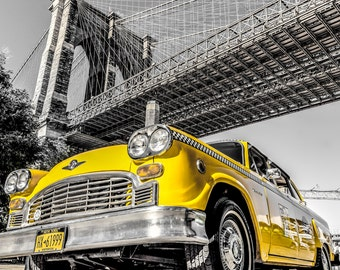 New York Wall Decor,instant download photography,Brooklyn Bridge photo, old taxi picture,retro home decor,vintage image,black and white art