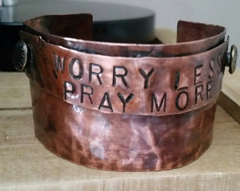 Hammered Copper Cuff~ Hand stamped Cuff Bracelet