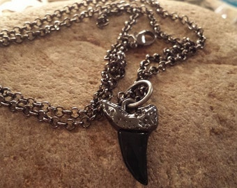 Gun Smoke Necklace~  Black Shark's Tooth Necklace