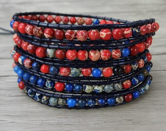 leather wrap bracelet blue and red jasper bead bracelet boho gemstone bracelet gypsy leather bracelet yoga 5 wraps bracelet Jewelry SL-0285