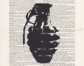 Antique Grenade Print Vintage Dictionary Art Print Black and White Laser Ink Printed on Vintage Dictionary Pages One of a Kind