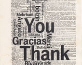 Thank You Languages Print Vintage Dictionary Art Print Black and White Laser Ink Printed on Vintage Dictionary Pages One of a Kind