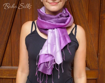 Purple Scarf, Purple Silk Scarf, Purple Ombre Scarf, Lap Scarf, Scarf for Women, Gift Ideas For Friends, Womens Scarf, Scarves and Wraps