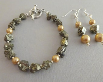 Fool's Gold- Pyrite & Pearl Bracelet and Earring Set
