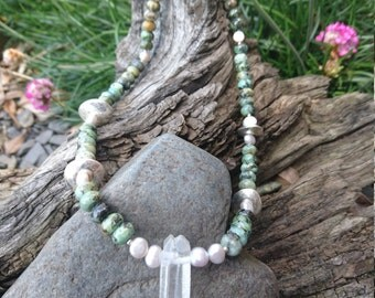 Clear Quartz, African Turquoise & Pearl pendant necklace. Surfer girl or summer day.