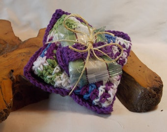 Purple/white/green/blue 4pc 100% Cotton Spa Set: Hand-crocheted facecloth, face scrubbie, makeup remover cloth, and travel soap