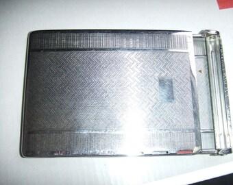 vintage Engine Turned Chrome Mosda  Romantic Cigaretter Case