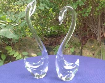 Vintage Glass Sculpture Swans