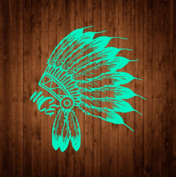 Indian Headdress Decal Free Shipping Tribal Decal