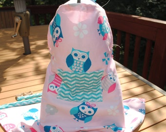 Kids Apron Pink with Blue Owls