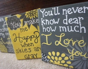 "Set of 3 Acrylic Paintings ""You are my sunshine"" in gray & yellow"
