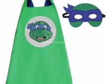 Blue Teenage Mutant Ninja Turtles Cape costume Kids superhero including mask