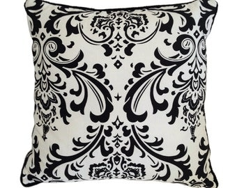 Damask Cushion Cover in Black on White