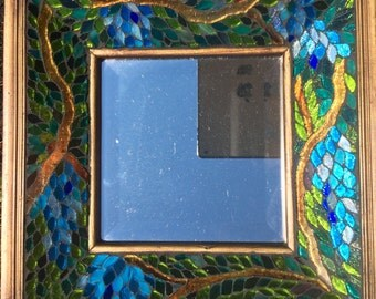 Stained Glass Wisteria Mosaic with Beveled Mirror