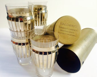 1940's Baldwin's Travel/Portable Glass Tumbler Set in Tubular Carrier
