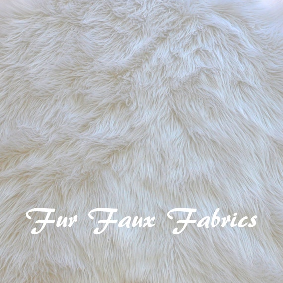 Snow White Luxury Shaggy Fur Faux Fabric By The Yard Remnants