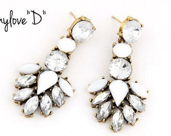 Statement Drop Earrings. Elegant. White and Rhinestone.