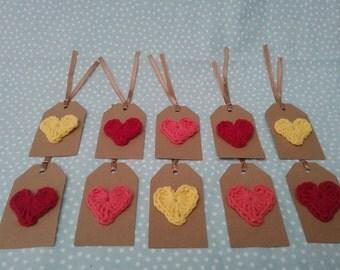 Crochet Heart Tags