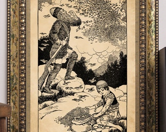 "C.F. Arcier 1915 ""The Mountain Lord Rübezahl & Little Peter"" Antique Children's Fairy-Tale Story-Book Art Print Hunter Child Forest Birds"