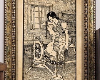 "C.F. Arcier 1915 ""Beautiful Susan Daydreaming at Spinning Wheel"" Antique Children's Fairy-Tale Story-Book Art Print"
