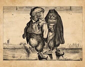 Owls Ice-Skating Across Frozen Lake 1660 Adriaen van de Venne Antique Book Illustration Engraving Art Print