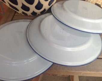 Vintage enamelware plates, white with blue, sturdy pines, camping, tailgate