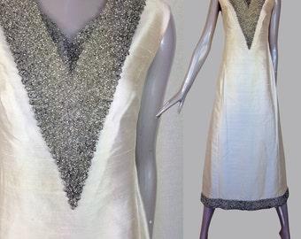 1960s quality shantung silk evening gown dress-----s