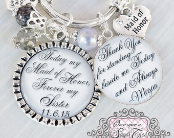MAID OF HONOR Gift Sister- Personalized Bridesmaids Gifts- Bridal Party Gifts -Maid of Honor Jewelry-Wedding Date-Sister in law wedding gift