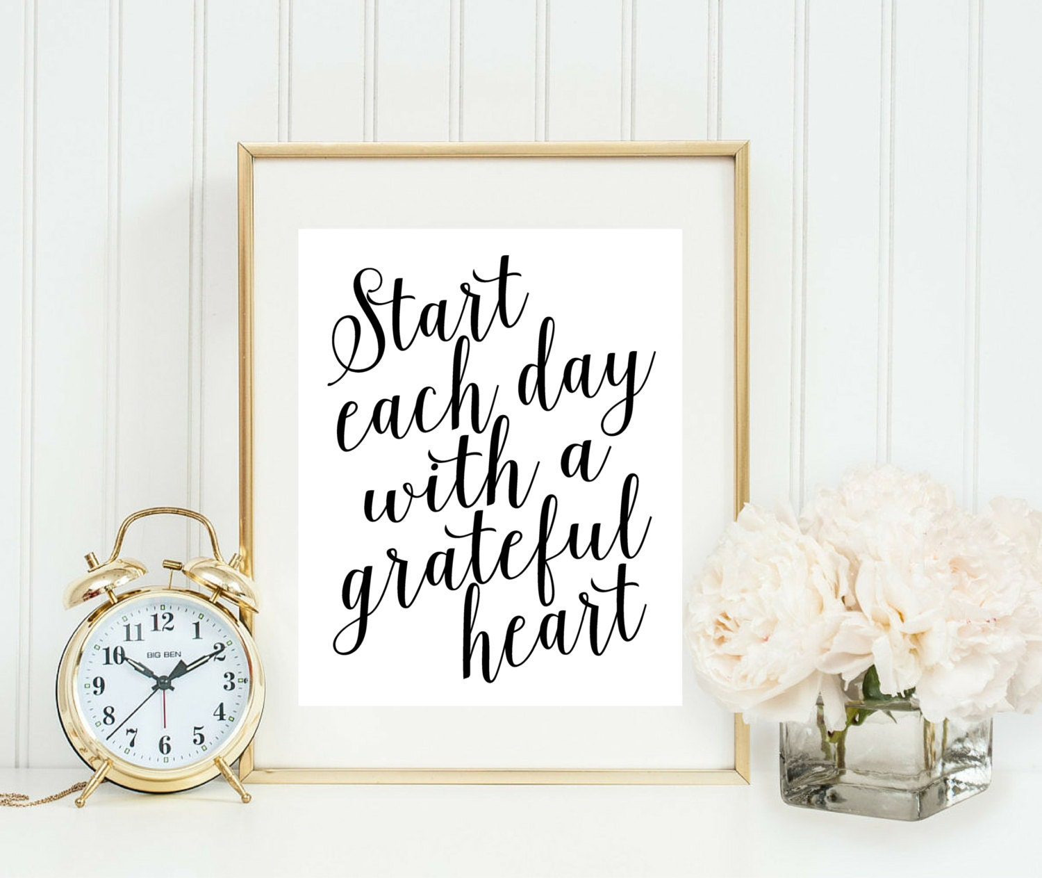 Start Each Day With A Grateful Heart Print Home Office Sign