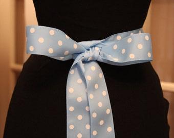 Blue Grosgrain Ribbon/Blue Polka Dot Grosgrain Ribbon/Blue Bridal Sash/Blue Polka Dot Ribbon/Hair Ribbon/Sewing Ribbon
