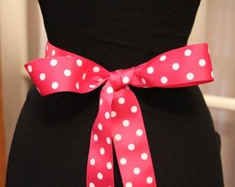 Pink Grosgrain Ribbon/Fucshia Polka Dot Grosgrain Ribbon/Pink Polka Dot Ribbon/Fucshia Grosgrain Bridal Sash/Hot Pink Grosgrain Ribbon