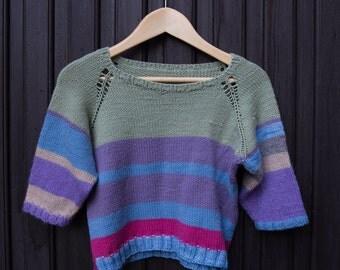 Hand knitted sweater merino wool , Gr. 92-98 cm