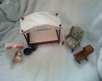 Doll House Furniture Bedroom Set vintage