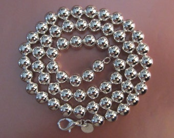"""Sterling Silver Plate Ball Bead Necklace 17.5"""""""