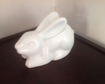 White Ceramic Bunny Bank (piggy bank)