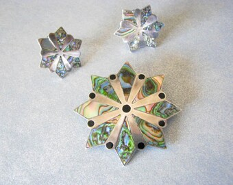 Signed-Made-in-Mexico-Sterling-Silver-and-Abalone-Brooch/Pendant-and-Earrings