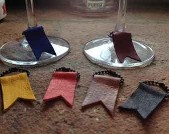 handmade glass markers in genuine leather