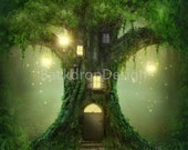 Enchanted Forest Backdrop - lantern, fairy tale, green tree house cave - Printed Fabric Photography Background G0198