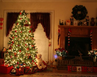 Christmas Backdrop - tree, room, furnace - Printed Fabric Photography Background G0138
