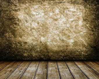 Grunge Wall Backdrop - room, wallpaper, old wooden floor - Printed Fabric Photography Background G0214
