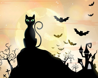 Limited Series - Cat Silhouette Halloween Backdrop A0101
