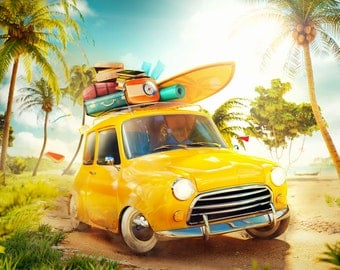 Yellow Car Backdrop - beach, sunshine, fairy tale, palm - Printed Fabric Photography Background G1131