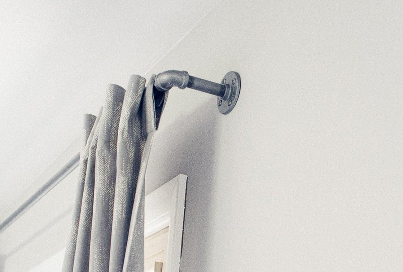 Galvanized Window Curtain Rod Urban Industrial Chic Pipe