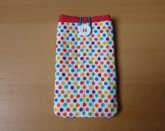iPhone/ Smartphone/ Cell phone cover - cotton fabric, polka dot